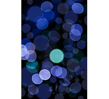 Blue bokeh circles blurry texture Photographic Print