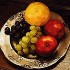 Pewter Plate and fruit by Gilberte