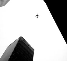 Plane in the Sky, Canary Wharf by saahilio