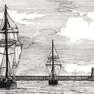 196 - TALL SHIPS LEAVING THE TYNE - DAVE EDWARDS - PEN & INK - 1993 by BLYTHART