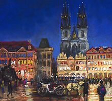 Prague Old Town Square Night Light by Yuriy Shevchuk