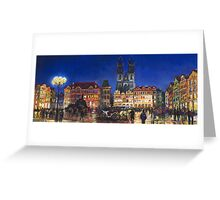 Prague Old Town Square Night Light Greeting Card
