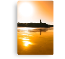 sunset view of the castle beach and cliffs in Ballybunion Canvas Print