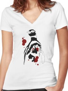 Magellanic Penguin Design Women's Fitted V-Neck T-Shirt