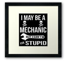 I May Be A Mechanic But I Can'y Fix Stupid Framed Print