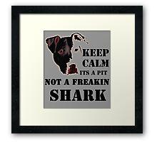 keep calm its a pit bull not a freakin shark Framed Print