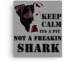 keep calm its a pit bull not a freakin shark Canvas Print