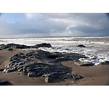 the black rocks on Ballybunion beach Photographic Print