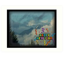 Olympic Mountains Happy New Year Card Art Print