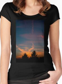 Evening aeroplane contrails sunset Women's Fitted Scoop T-Shirt