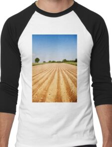 Ploughed agriculture field empty Men's Baseball ¾ T-Shirt