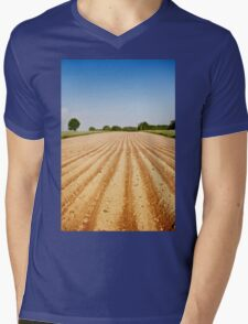 Ploughed agriculture field empty Mens V-Neck T-Shirt