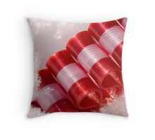 Snowy Ribbon Throw Pillow