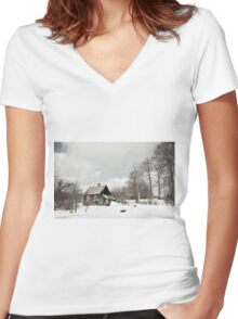 dilapidated wooden house cottage in winter  Women's Fitted V-Neck T-Shirt