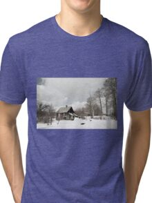 dilapidated wooden house cottage in winter  Tri-blend T-Shirt