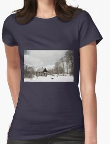 dilapidated wooden house cottage in winter  Womens Fitted T-Shirt