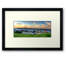 Glastonbury Festival at Sunset Panorama with Tipis Framed Print