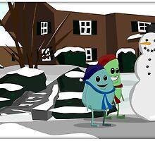 Friends build a snowman. by kralzar