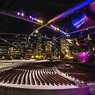 Chicago's Pritzker Pavillion with colored lights by Sven Brogren