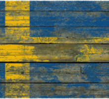 Flag of Sweden on Rough Wood Boards Effect Sticker