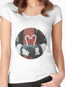 Candy cane love Women's Fitted Scoop T-Shirt