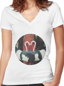 Candy cane love Women's Fitted V-Neck T-Shirt