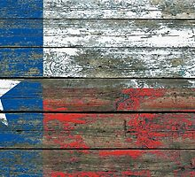 Flag of Texas on Rough Wood Boards Effect by Jeff Bartels