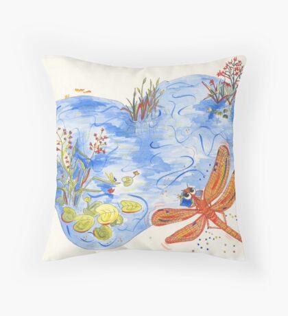 Orange Dragonfly Throw Pillow