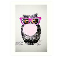 Happy chewing gum owl Art Print