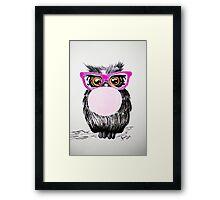 Happy chewing gum owl Framed Print