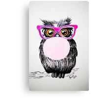 Happy chewing gum owl Canvas Print