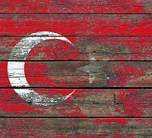 Flag of Turkey on Rough Wood Boards Effect by Jeff Bartels