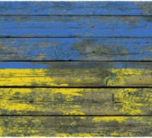 Flag of Ukraine on Rough Wood Boards Effect Sticker