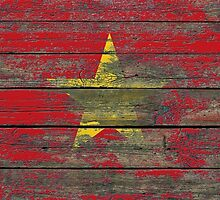 Flag of Vietnam on Rough Wood Boards Effect by Jeff Bartels