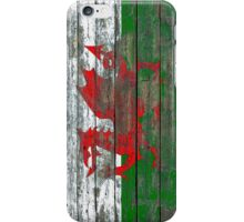 Flag of Wales on Rough Wood Boards Effect iPhone Case/Skin
