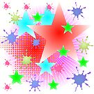 red rays and stars background by mettus