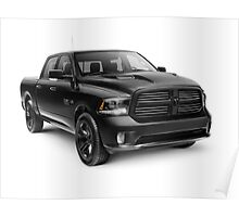 Black 2015 Dodge RAM 1500 4x4 pickup truck art photo print Poster