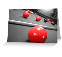 Snooker table with a Red +Black +white filter Greeting Card