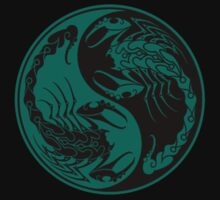 Teal Blue and Black Scorpions Yin Yang  Kids Clothes