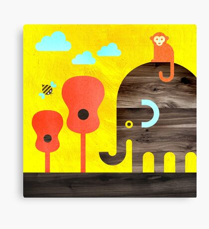 Elephant, Monkey, and Guitar Trees Canvas Print
