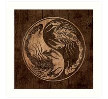 Yin Yang Scorpions with Wood Grain Effect Art Print