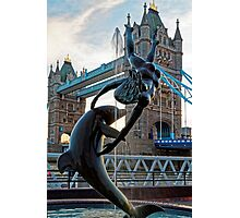 Girl with a Dolfin at Tower Bridge, London, England Photographic Print