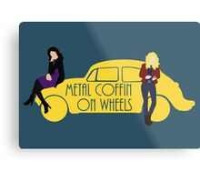 Metal Coffin On Wheels Metal Print