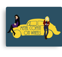 Metal Coffin On Wheels Canvas Print