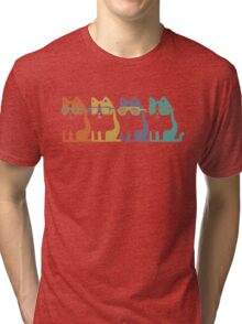 Cats In Glasses Row Tri-blend T-Shirt