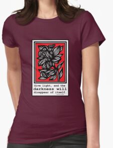 Heading Flowers Red White Black Womens Fitted T-Shirt