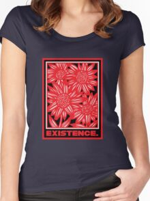 Mangels Flowers Red White Black Women's Fitted Scoop T-Shirt
