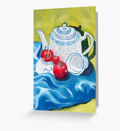 Red, White & Blue, Tea & Tomatoes for you Greeting Card