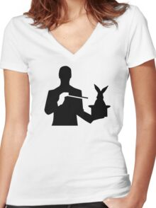 Magician top hat rabbit Women's Fitted V-Neck T-Shirt