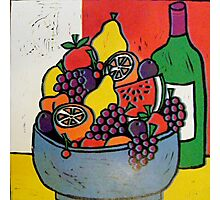 Fruit Bowl and Wine Photographic Print